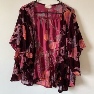 Velvet floral open cover up jacket thing